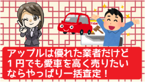 3.5 アップルは優れた業者だけど1円でも愛車を高く売りたいならやっぱり一括査定!